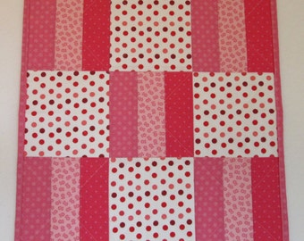 "Doll Quilt, 18.5"" x 19"", Mini Quilt, Pink and White, Big Dots, Small Flowers, Roman Stripe Quilt"