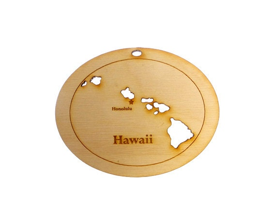 Hawaii State Engraved Ornament