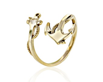 Gold Anchor Wrap Around Ring, 10 karat Solid Gold, Charm America Jewelry