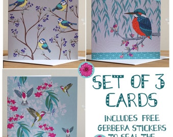 Set Of 3 Blank Greeting Cards Birds Kayleigh Jayne Design