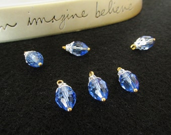 6 Pcs. 18mm by 9mm Light Blue/Silver/Gold Glass Crystal Bead Charms - Beaded Silver Charms - Handmade Beads - Crystal Jewelry Supplies/Parts