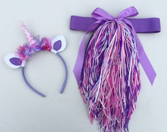 Pink and Purple Rainbow Yarn Unicorn Headband and Tail Set with Elastic Waistband