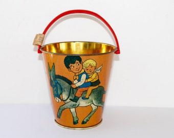 Vintage Lithograph Children's Sand Pail, Vintage Tin Sand Bucket, 1950s Easter