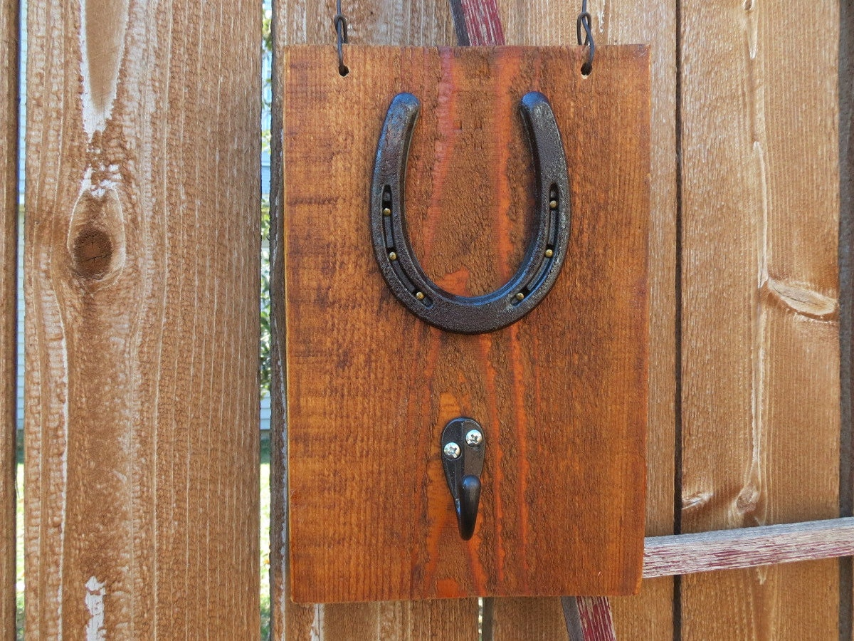 Horseshoe Wall Hanging With Hook Attached On Barnwood Would