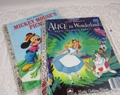 Vintage Little Golden Book Children's Collectible Books Walt Disney's MickeyMouses Picnic Alice in Wonderland Vintage Children Art Upcycle