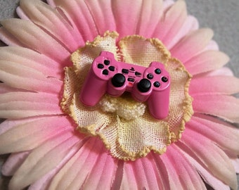 Pink Playstation Controller Flower Hair Clip