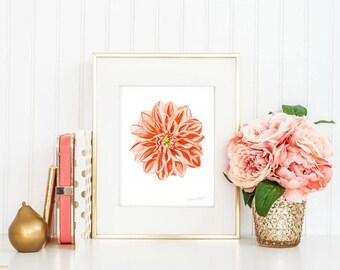 Peach Flower Art Print by Michelle Mospens - flower paintings, modern art print, dahlia art, flower art, flower painting