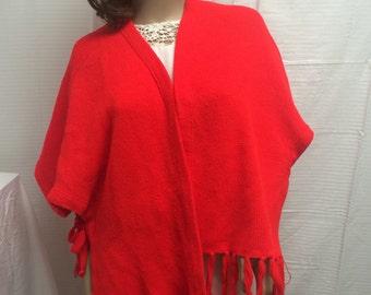 Red knit shawl, red knit wrap, shawl, wrap, fringed