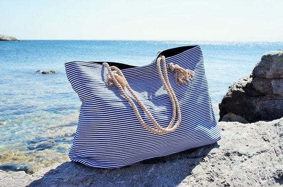 XL Canvas Beach Bag / Blue Navy Stripes / Rope Cord Closure /