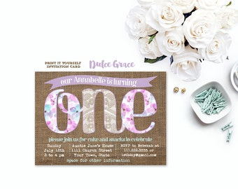 1st birthday invitations, the big one invites, lilac lace invitation, lavender burlap invitation, shabby style birthday party, printable