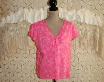 Boho Plus Size 14 Size 16 Summer Top Dark Pink Print Cap Sleeve Short Sleeve Blouse Casual Plus Size Clothing Large XL Womens Clothing