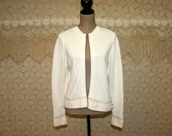 80s 90s Womens Cardigan Sweater Medium White Cardigan Cotton Cardigan Open Cardigan Vintage Cardigan Liz Claiborne Vintage Clothing