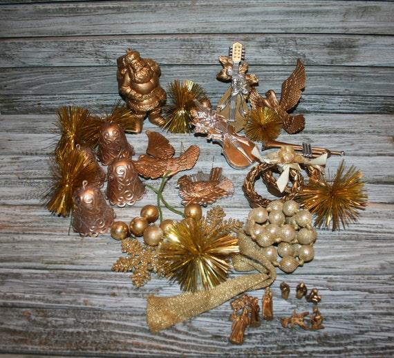 Gold Bird Christmas Tree Decorations : Vintage gold ornaments santa bells birds christmas ornament