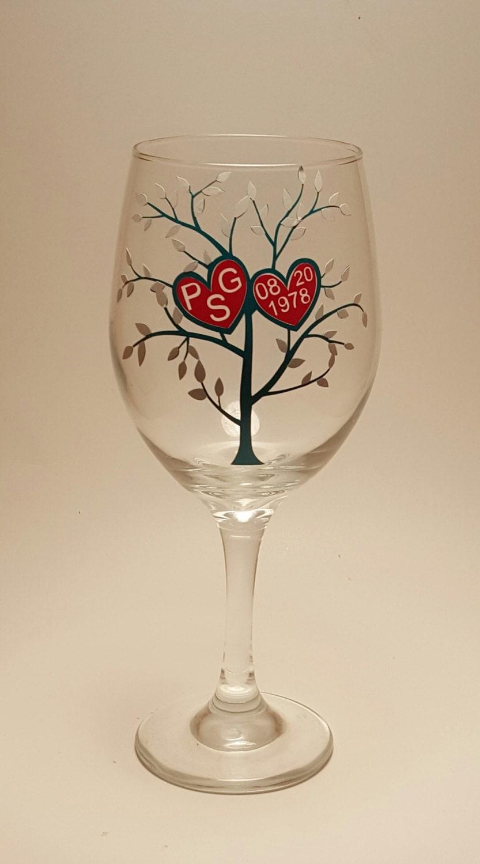 Tree Of Love Wine Glass Custom Personalized Cheap Wedding Favors Anniversary Fun Gift