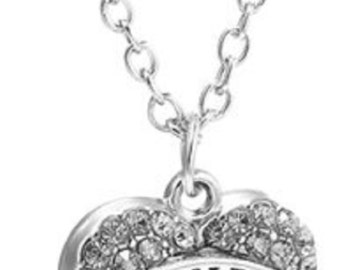 Grandma Crystal Silver Heart Handmade Charm Pendant Necklace