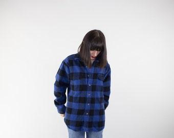 Vintage Flannel Shirt | 90s Heavy Black and Blue Flannel | Oversize Grunge Top