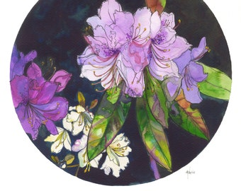 Lilac Rhododendron // A3 Giclée Print // Illustration