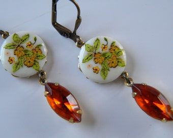 Vintage Floral Cameo and Madera Topaz Dangle Earring Floral Botanical Decal Glass Cameo Orange ,Gold and Madera Topaz  Earring