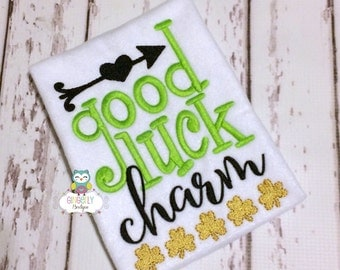 Good Luck Charm Shirt or Bodysuit, Girl St Patricks Day, Girl Shamrock Shirt, Girl St Patty's Day Shirt, Little miss Shirt, Good Lucky Charm