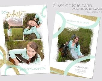 Senior Graduate 5x7 Flat Announcement Card Template - 2016 Seniors, Elegant, Gold, Girl, Graduating, Open House, Commencement, Teal