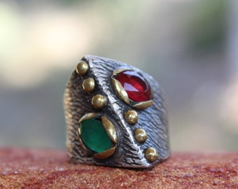 Ruby Emerald Ring, Birthstone ring, Turkish Ring, Sterling silver ring, vintage ring, Goth ring, Medieval ring, Statement Ring, Ruby ring