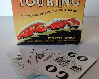 Vintage Touring card game Parker Brothers 1937 original box nice old car graphics from MilkweedVintageHome