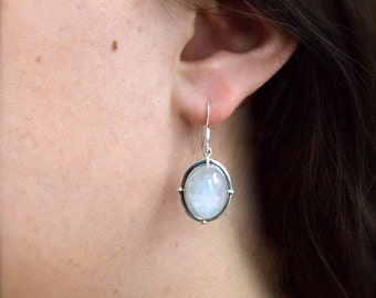 North, South, East, West Moonstone Earrings