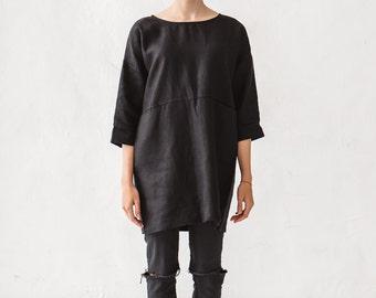 Oversized tunic/ Black linen tunic/ Linen tunic/ Linen blouse/ Tunic/ Washed linen/ Linen shirt/ Linen top / #14