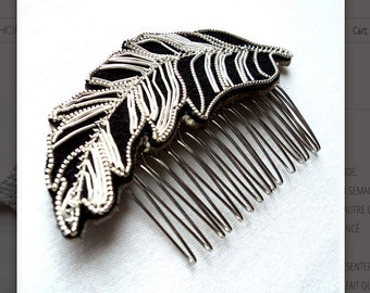 Hairpin Feather, wedding comb, bun comb, hair comb, boho wedding, wedding hair spike, hair accessory, bride hair, bride hair clip.
