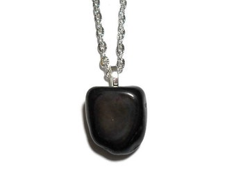 Black agate necklace, black agate pendant, black chakra, base chakra necklace, tumbled agate pendant necklace, healing jewelry