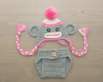 Crochet Sock Monkey Costume, Crochet Sock Monkey Set, Diaper Cover Set, Crochet Baby Hat, Newborn Photography Prop, Photo Prop, Sock Monkey