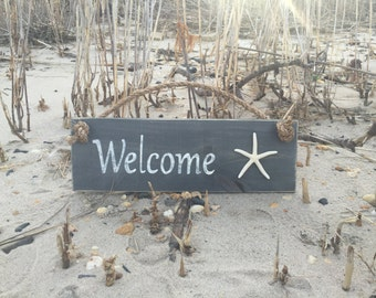 Hand Painted Welcome Sign with Starfish and Roping ~ Coastal Beach Decor For Your Home ~ Great Housewarming Gift! Made In The USA!