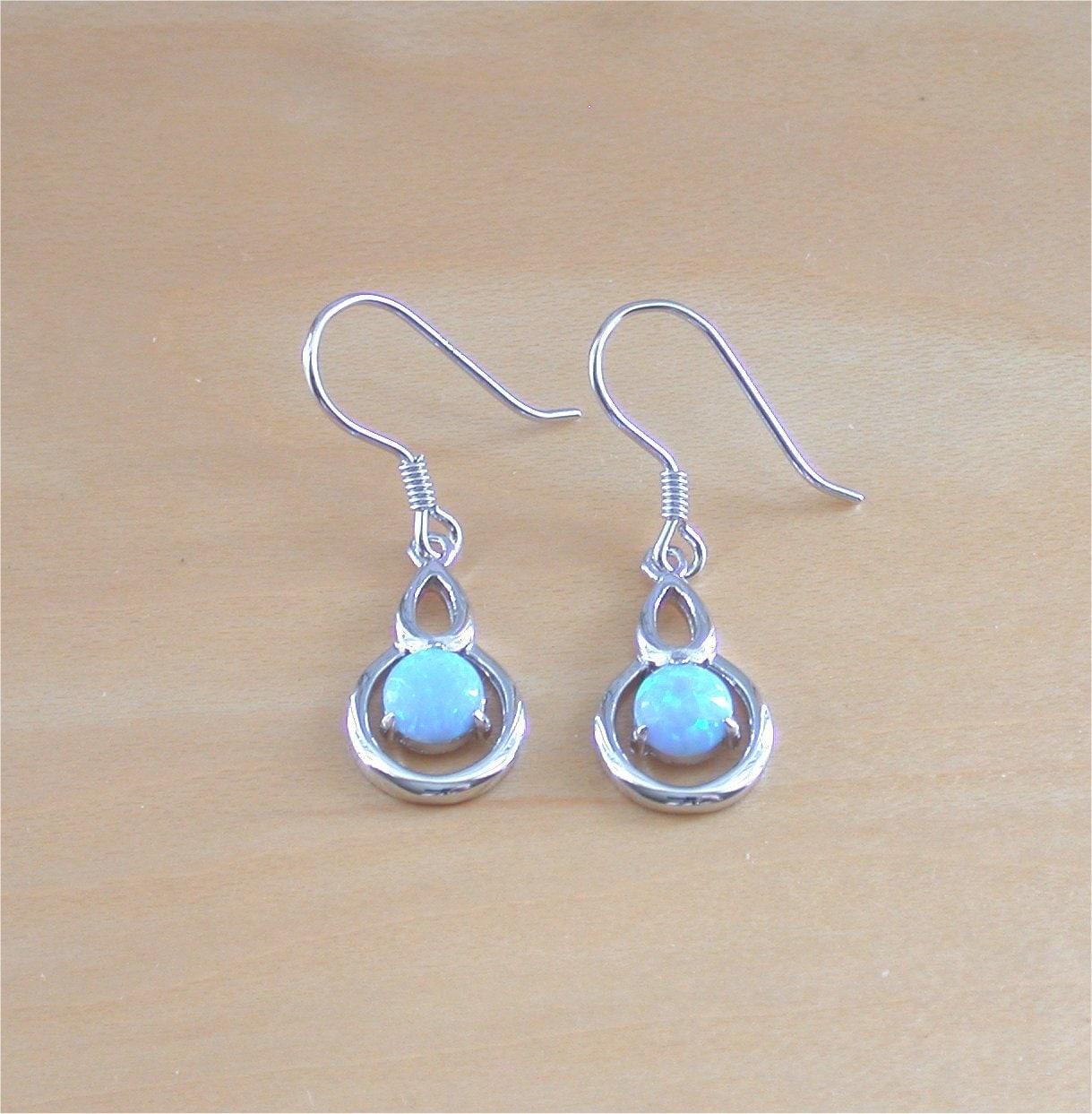 925 blue opal earrings sterling silver blue opal earrings opal. Black Bedroom Furniture Sets. Home Design Ideas
