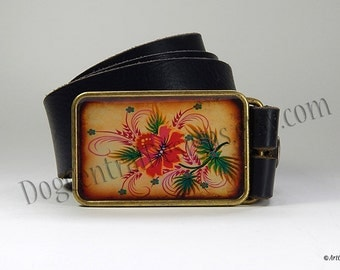 Belt Buckle Ornamental Red Flower Belt Buckle Boho Folk Style Choice of Buckle Finish Womens Belts Leather Belt Womens Clothing Birthday