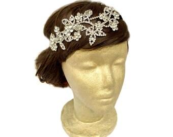 Flower Rhinestone Headpiece, Bridal Rhinestone Hair Bandeau, Crystal Headwrap, Bridal Hair Accessories, Wedding Headband, Downtown Abbey