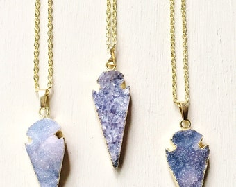 Druzy Arrowhead Necklace//Druzy Necklace//Druzy Geode//Druzy Pendant//Layered Necklace//Layering Necklace