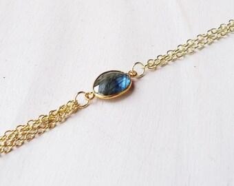 Labradorite Tassel Necklace//Gold Labradorite Tassel Necklace//Blue Flash Labradorite Necklace