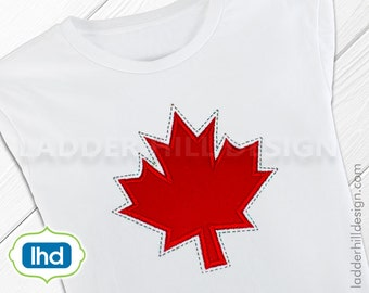 Canada Maple Leaf Machine Embroidery Design -- Canadian Embroidery Design -- Happy Canada Day Embroidery Applique ID006
