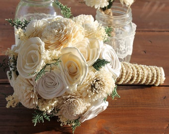 Ivory Sola Flower Bouquet, Cream Sola Flower Bouquet, Cream Sola Wood Bouquet, Rustic Wedding, Baby Breath Bouquet, Off White Sola Flowers