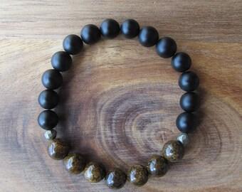 Bronzite and Matte Black Onyx Bracelet, Stacking Bracelet, Men's Bracelet, Mala Bracelet, Layering Bracelet, Beaded Bracelet, Gift for Men