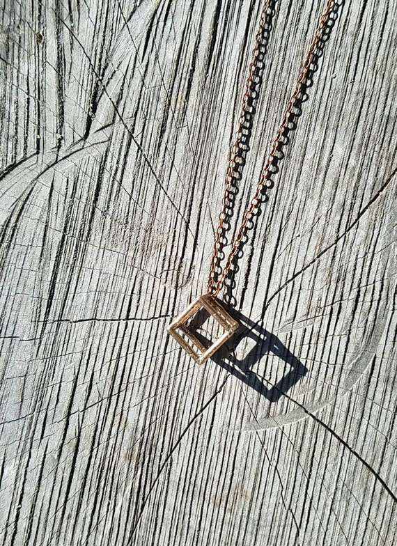 Hexahedron Platonic Solid Bronze Pendant with Chain - Cube