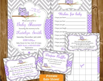 Girl Owl Baby Shower Set, Owl Printable Girl Baby Shower Package , Grey Purple Chevron Polkadots Shower, Girl Owl Baby Shower Invitation Set