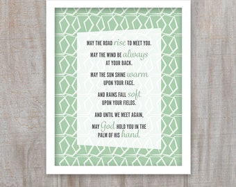 Printable Irish Saying, May the Road Rise to Meet You, St Patricks Day, Irish Gift, Irish Blessing, 8x10 Instant Download, Digital File