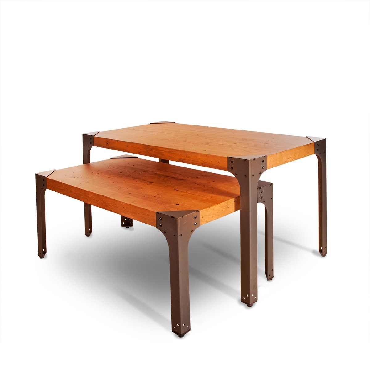 Two Industrial Nesting Tables With Top Nesting Table By SLFixtures. Full resolution  photo, nominally Width 1200 Height 1200 pixels, photo with #BA4911.