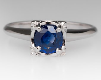 Sapphire Engagement Ring - Sapphire Solitaire Ring - Round Blue Sapphire Ring - Squared Head - 14K White Gold - WM10563
