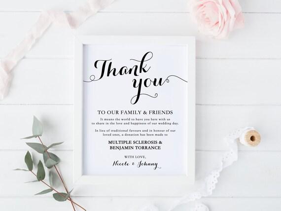 Wedding Donation Sign Thank You Sign Wedding Decor Print