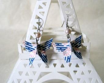 Origami Earrings - Paper Earrings - Butterfly Earrings - Origami Jewelry - Paper Jewelry - October Pearl Birthstone - WC30