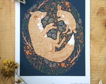 "Fox and Hare, Fox and Rabbit, Original Art, Illustration, 8x10"", Giclee Print"