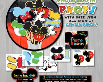 Mickey Mouse Clubhouse birthday Photo Booth Props ONLY, Mickey Mouse birthday, Mickey Mouse Party, Can be used as Center pieces