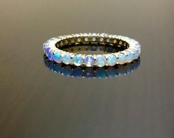 14K Yellow Gold Eternity Opal Engagement Band - 14K Gold Opal Wedding Band - 14K Opal Eternity Band - Yellow Gold Opal Band - Gold Opal Ring